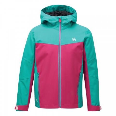 Dare2b Kids In The Lead Waterproof Jacket Aqua Blue/Active Pink