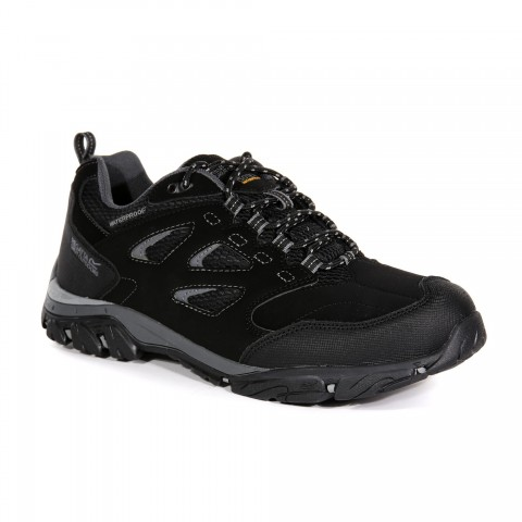 Regatta Mens Holcombe Low Waterproof Walking Shoe Black/Granite