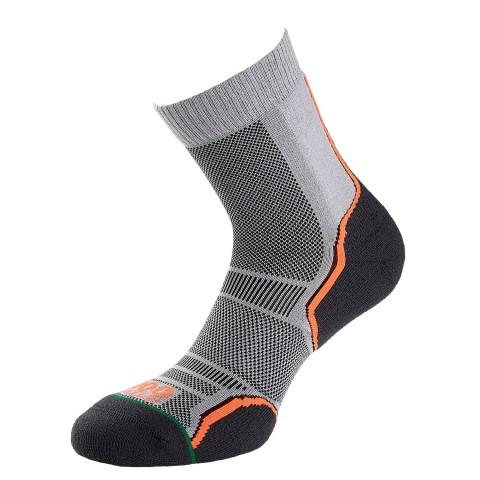 1000 Mile Mens Trail Running Socks 2 Pack Grey/Orange