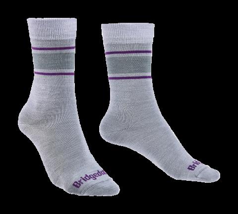 Bridgedale Ladies Merino Liner Sock Grey/Purple