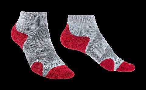 Bridgedale Ladies Trail Sport Lightweight Ankle Sock Grey/Raspberry
