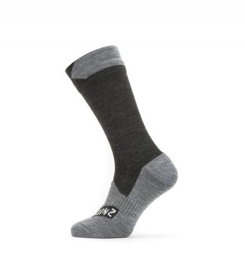Seal Skinz Waterproof All Weather Mid Length Sock Black/Grey
