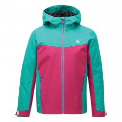 Dare2b Kids In The Lead Waterproof Jacket Aqua Blue/Active Pink