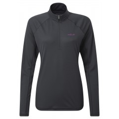 Rab Ladies Pulse Long Sleeve Zip Top Ebony