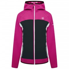 DARE2B LADIES DUPLICITY SOFT SHELL JACKET ACTIVE PINK/BLACK/WHITE
