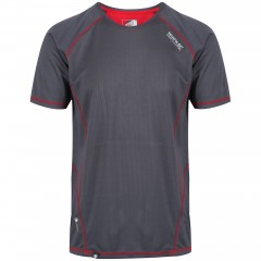 Regatta Mens Virda Wicking Tee Grey/Red