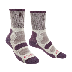 Bridgedale Ladies Hike Lightweight Cotton Boot Sock Plum