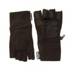 Thinsulate Fleece Fingerless Gloves With Gripper Palms Black