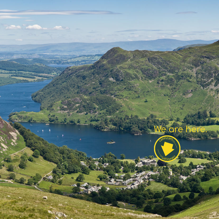 View of Ullswater, Glenridding and Place Fell showing the location of Catstycam the Outdoor Shop